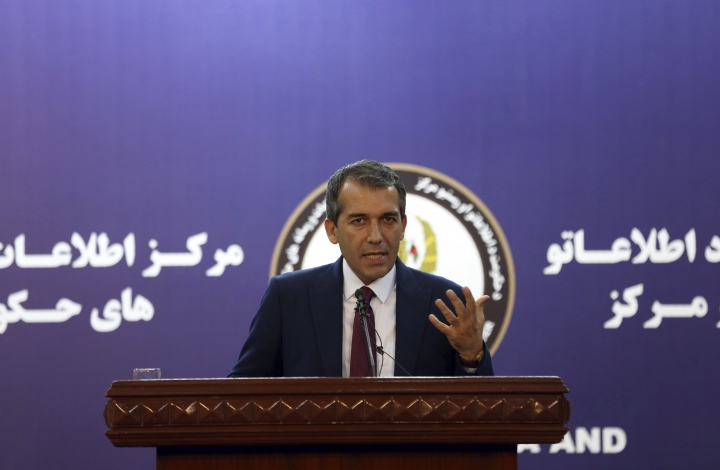 """Presidential spokesman Sediq Seddiqi speaks during a press conference in Kabul, Afghanistan, Monday, Sept. 2, 2019. A U.S. envoy showed the draft of a U.S.-Taliban agreement to Afghan leaders on Monday after declaring they were """"at the threshold"""" of a deal to end America's longest war, officials said. Seddiqi told reporters the Afghan government likely would take a """"couple of days"""" to study the deal to make sure it addresses the government's main goals of a lasting cease-fire and direct talks with the Taliban in the near future. (AP Photo/Rahmat Gul)"""