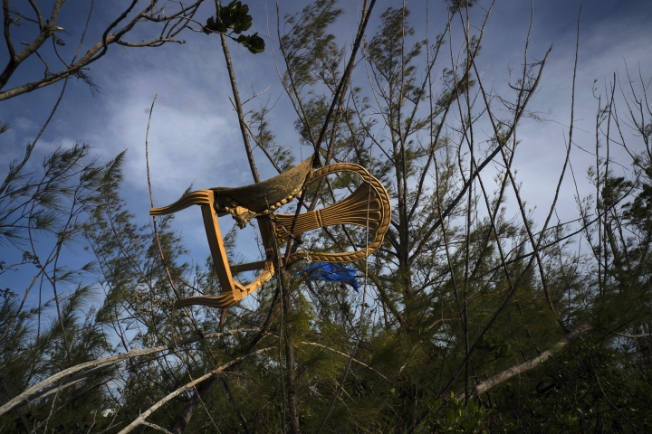 A chair is caught in a grove blown there by Hurricane Dorian's powerful winds, in Pine Bay, near Freeport, Bahamas, Wednesday, Sept. 4, 2019. Rescuers trying to reach drenched and stunned victims in the Bahamas fanned out across a blasted landscape of smashed and flooded homes Wednesday, while disaster relief organizations rushed to bring in food and medicine. (AP Photo/Ramon Espinosa)