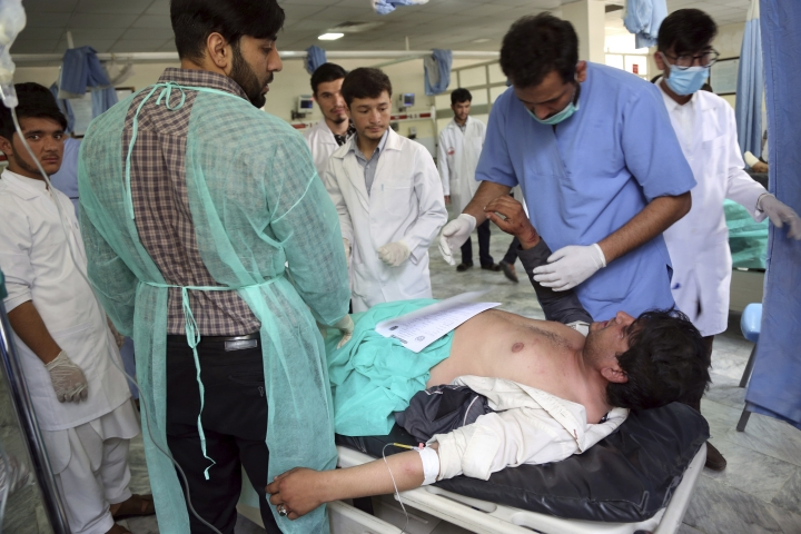 A wounded man receives treatment in a hospital after a car bomb explosion in Kabul, Afghanistan, Thursday, Sept. 5, 2019. A car bomb rocked the Afghan capital on Thursday and smoke rose from a part of eastern Kabul near a neighborhood housing the U.S. Embassy, the NATO Resolute Support mission and other diplomatic missions. (AP Photo/Rahmat Gul)