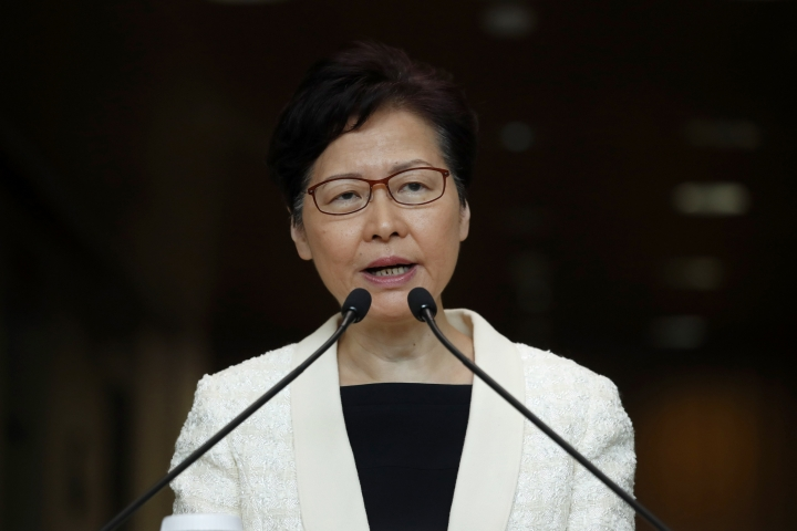 FIEL - In this Sept. 3, 2019, file photo, Hong Kong Chief Executive Carrie Lam speaks during a press conference in Hong Kong. Hong Kong's government has a meeting scheduled on Wednesday, Sept. 4 amid speculation leader Carrie Lam may formally withdraw an extradition bill as protesters have demanded. (AP Photo/Jae C. Hong, File)