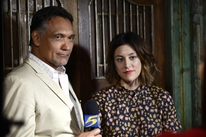 "This image released by NBC shows Jimmy Smits, left, and Caitlin McGee who star in the series ""Bluff City Law,"" premiering on Sept. 23. (Greg Campbell/NBC via AP)"