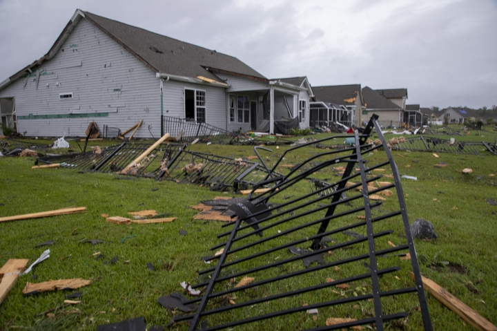 A tornado touched down in the The Farm at Brunswick County in Carolina Shores, N.C., on Thursday, Sept. 5, 2019, damaging homes ahead of Hurricane Dorian's arrival. (Jason Lee/The Sun News via AP)