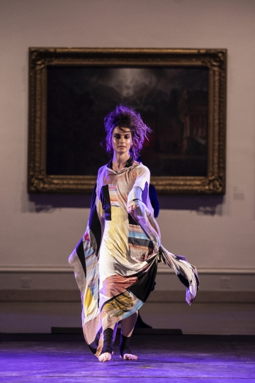 The Cilium collection is modeled during the dapperQ fashion show at the Brooklyn Museum on Thursday Sept. 5, 2019, in New York. (AP Photo/Jeenah Moon)
