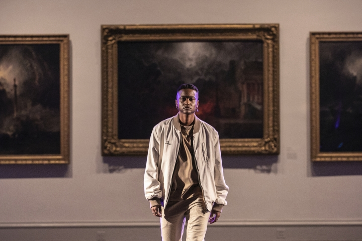 The STUZO collection is modeled during the dapperQ fashion show at the Brooklyn Museum on Thursday, Sept. 5, 2019, in New York. (AP Photo/Jeenah Moon)