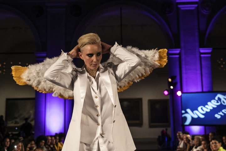 The Shane Ave. collection is modeled during the dapperQ fashion show at the Brooklyn Museum on Thursday Sept. 5, 2019, in New York. (AP Photo/Jeenah Moon)