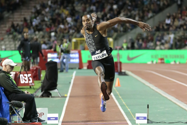 United States Christian Taylor competes in the men's triple jump during the Diamond League Memorial Van Damme athletics event at the King Baudouin stadium in Brussels on Friday, Sept. 6, 2019. (AP Photo/Virginia Mayo)