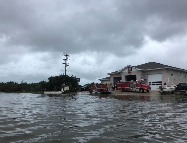 The Ocracoke Village Fire Department is used as a command center Friday, Sept. 6, 2019 on Ocracoke Island, N.C., in the aftermath of Hurricane Dorian. (Connie Leinbach/Ocracoke Observer via AP)