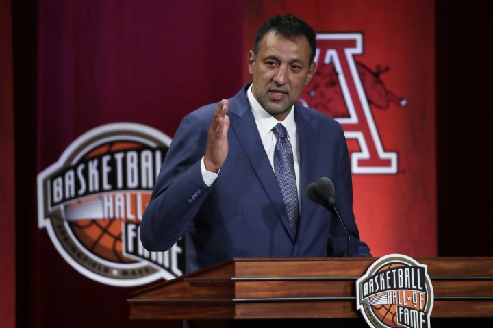 CORRECTS TO FRIDAY, SEPT, 6 - Inductee Vlade Divac speaks during the Basketball Hall of Fame enshrinement ceremony Friday, Sept. 6, 2019, in Springfield, Mass. (AP Photo/Elise Amendola)