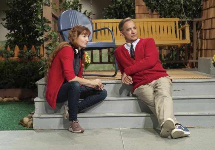 """This image released by Sony Pictures shows director Marielle Heller, left, and Tom Hanks on the set of """"A Beautiful Day in the Neighborhood. (Lacey Terrell/Sony - Tristar Pictures via AP)"""