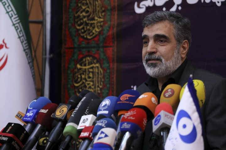 In this photo released by the Atomic Energy Organization of Iran, spokesman of the organization Behrouz Kamalvandi speaks in a news briefing in Tehran, Iran, Saturday, Sept. 7, 2019. Iran has begun injecting uranium gas into advanced centrifuges in violation of its 2015 nuclear deal with world powers, Kamalvandi said. (Atomic Energy Organization of Iran via AP)