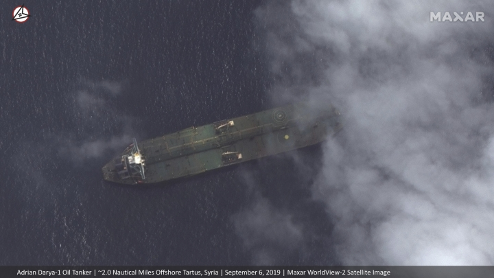 This Friday, Sept. 6, 2019 satellite image provided by Maxar Technologies appears to show the Iranian oil tanker Adrian Darya-1 off the coast of Tartus, Syria. Satellite images obtained by The Associated Press on Saturday, Sept. 7, 2019, appeared to show the once-detained Iranian oil tanker Adrian Darya-1 near the Syrian port, despite U.S. efforts to seize the vessel. That's after Gibraltar earlier seized and held the tanker for weeks, later releasing it after authorities there said Iran promised the oil wouldn't go to Syria. (Satellite image ©2019 Maxar Technologies via AP)
