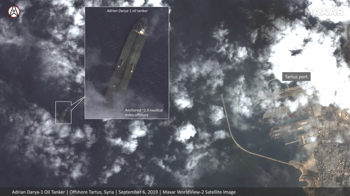 This Friday, Sept. 6, 2019, satellite image provided by Maxar Technologies appears to show the Iranian oil tanker Adrian Darya-1 off the coast of Tartus, Syria. Satellite images obtained by The Associated Press on Saturday, Sept. 7, 2019, appeared to show the once-detained Iranian oil tanker Adrian Darya-1 near the Syrian port, despite U.S. efforts to seize the vessel. That's after Gibraltar earlier seized and held the tanker for weeks, later releasing it after authorities there said Iran promised the oil wouldn't go to Syria. (Satellite image ©2019 Maxar Technologies via AP)