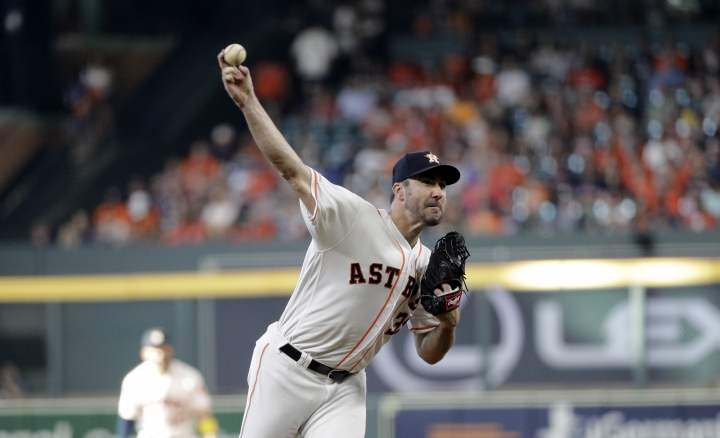 Houston Astros starting pitcher Justin Verlander throws against the Seattle Mariners during the first inning of a baseball game Saturday, Sept. 7, 2019, in Houston. (AP Photo/David J. Phillip)
