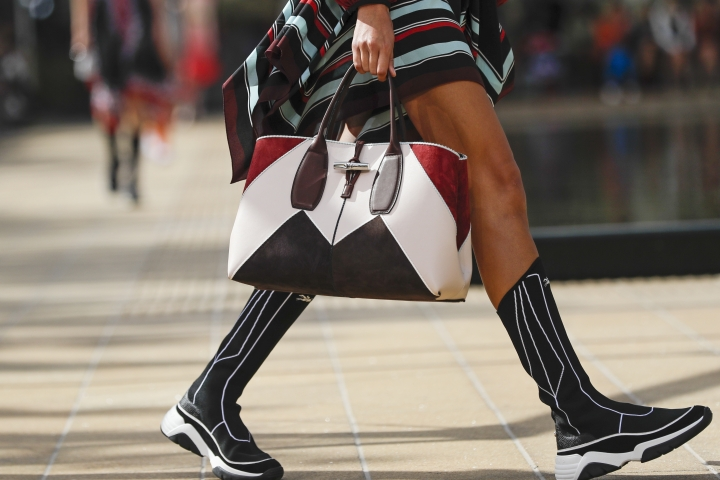 Fashion from Longchamp is modeled Saturday, Sept. 7, 2019, in New York. (AP Photo/Frank Franklin II)
