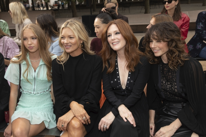 Lila Grace Moss Hack, from left, model Kate Moss, actresses Julianne Moore and Linda Cardellini attend the Longchamp runway show at Lincoln Center during NYFW Spring/Summer 2020 on Saturday, Sept. 7, 2019, in New York. (Photo by Brent N. Clarke/Invision/AP