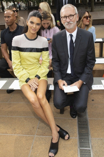 Model Kendall Jenner, left, and Chief Executive Officer, Longchamp SAS, Jean Cassegrain attend the Longchamp runway show at Lincoln Center during NYFW Spring/Summer 2020 on Saturday, Sept. 7, 2019, in New York. (Photo by Brent N. Clarke/Invision/AP