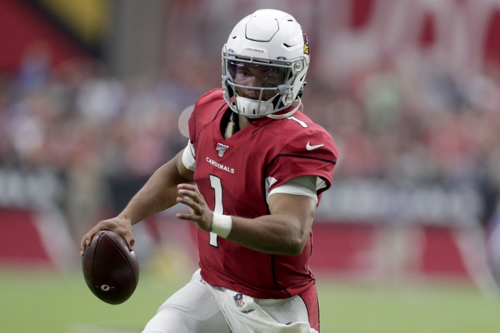 Arizona Cardinals quarterback Kyler Murray (1) scrambles against the Detroit Lions during the first half of an NFL football game, Sunday, Sept. 8, 2019, in Glendale, Ariz. (AP Photo/Darryl Webb)