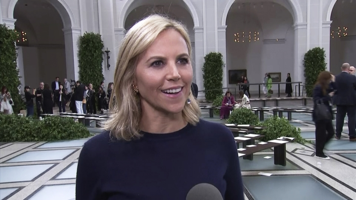 Fashion designer Tory Burch speaks in an interview during the New York Fashion Week at the Brooklyn Museum in the Brooklyn borough of New York on Sunday, Sept. 8, 2019. From a linen and leather pant to a macrame tweed skirt, Burch looked to one of the most important fashion icons of the 20th century for inspiration at New York Fashion Week: Princess Diana. (AP Photo)