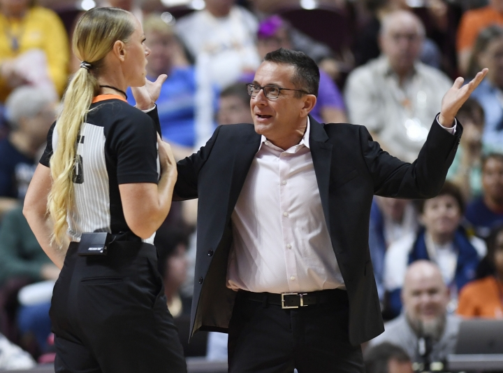 Connecticut Sun coach Curt Miller questions official Tiffany Bird during the team's WNBA basketball game against the Chicago Sky on Friday, Sept. 6, 2019, in Uncasville, Conn. (Sean D. Elliot/The Day via AP)