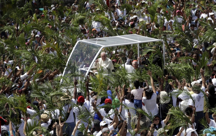 Faithful wave palm leaves as Pope Francis arrives to celebrate Mass at the Monument Mary Queen of Peace, in Port Louis, Mauritius, Monday, Sept. 9, 2019. Francis has arrived in the Indian Ocean nation of Mauritius to celebrate its diversity, encourage its ethical development and honor a 19th century French missionary who ministered to freed slaves. (AP Photo/Alessandra Tarantino)