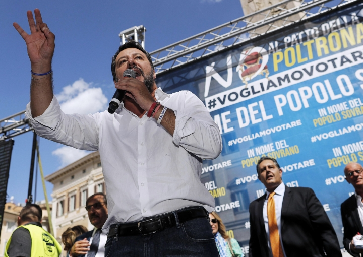 The League's leader Matteo Salvini speaks during a demonstration with far-right party Brothers of Italy against the 5-Star and Democratic party coalition government while Italian Premier Giuseppe Conte was addressing Parliament at the Lower Chamber, in Rome, Monday, Sept. 9, 2019. The lower Chamber of Deputies, where the government has a comfortable majority, is set to vote Monday evening. (Riccardo Antimiani/ANSA via AP)