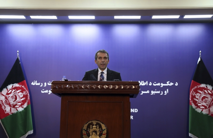 """Afghan Presidential Spokesman Sediq Seddqi gives a press conference in Kabul, Afghanistan, Sunday, Sept. 8, 2019. Seddqi spoke to reporters hours after U.S. President Donald Trump in a series of tweets announced that he had canceled a secret meeting set for Sunday at Camp David with Taliban and Afghan leaders. Seddqi said it doesn't believe talks between the United States and Taliban will continue """"at this stage"""" after Trump abruptly called them off. (AP Photo/Rahmat Gul)"""