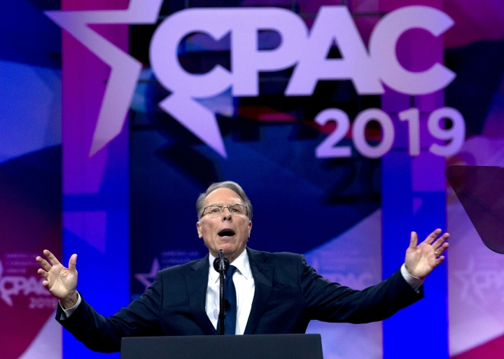 "FILE - In this March 2, 2019, file photo, National Rifle Association Executive Vice President and CEO Wayne LaPierre speaks at Conservative Political Action Conference, CPAC 2019, in Oxon Hill, Md. The NRA sued San Francisco on Monday, Sept. 9, 2019, over the city's recent declaration that the gun-rights lobby is a ""domestic terrorist organization."" (AP Photo/Jose Luis Magana, File)"