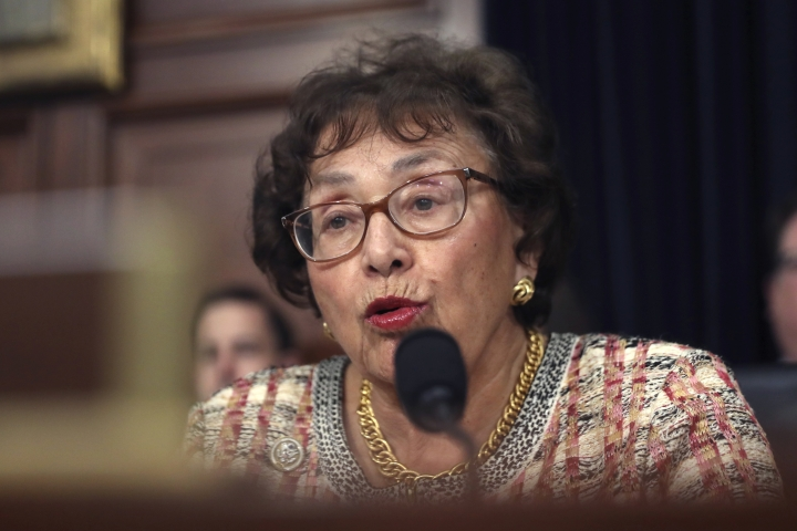 """FILE - In this April 9, 2019, file photo, Rep. Nita Lowey, D-N.Y., speaks during a hearing on Capitol Hill in Washington. Democrats controlling the House are proposing a government-wide temporary funding bill to prevent a federal shutdown at month's end and to give the slow-moving Senate time to act on $1.4 trillion worth of spending bills that fill in the details on this summer's bipartisan budget and debt deal. Lowey says the temporary funding bill would likely extend until """"sometime in November."""" (AP Photo/Andrew Harnik, File)"""