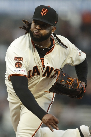 San Francisco Giants pitcher Johnny Cueto works against the Pittsburgh Pirates during the first inning of a baseball game Tuesday, Sept. 10, 2019, in San Francisco. (AP Photo/Ben Margot)