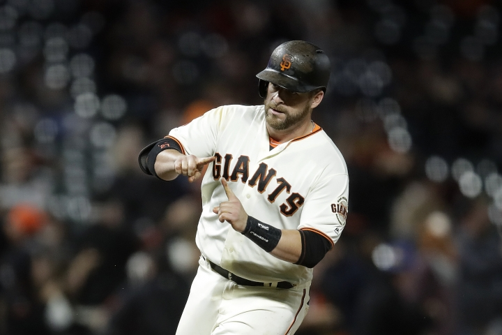 San Francisco Giants' Stephen Vogt celebrates after hitting a two-run home run off Pittsburgh Pirates pitcher Mitch Keller during the fifth inning of a baseball game Tuesday, Sept. 10, 2019, in San Francisco. (AP Photo/Ben Margot)