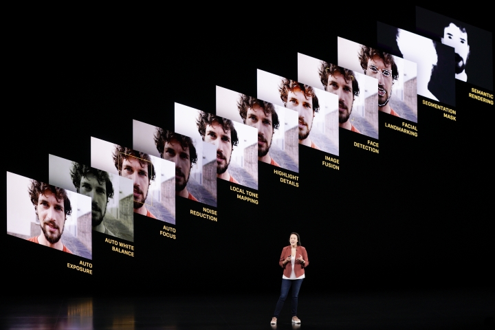 Kaiann Drance, Senior Director, Product Marketing, for the iPhone talks during an event to announce new products Tuesday, Sept. 10, 2019, in Cupertino, Calif. (AP Photo/Tony Avelar)