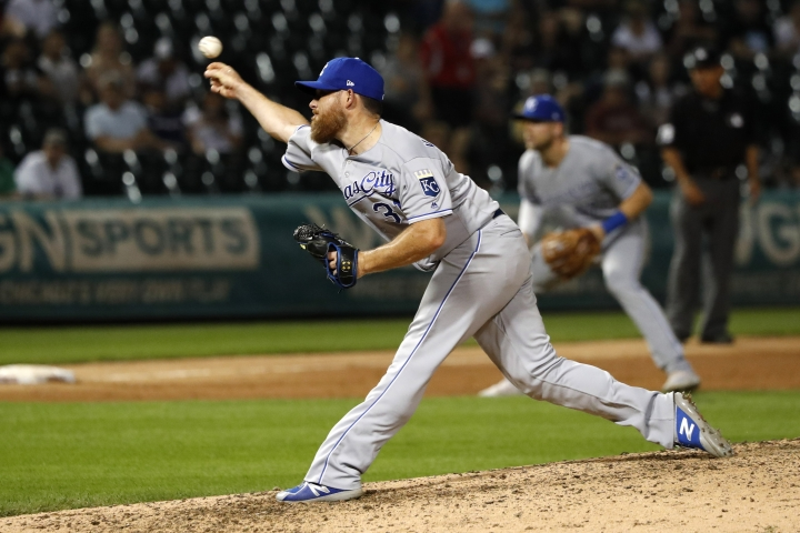 Kansas City Royals relief pitcher Ian Kennedy delivers during the ninth inning of the team's baseball game against the Chicago White Sox on Wednesday, Sept. 11, 2019, in Chicago. The Royals won 8-6. (AP Photo/Charles Rex Arbogast)