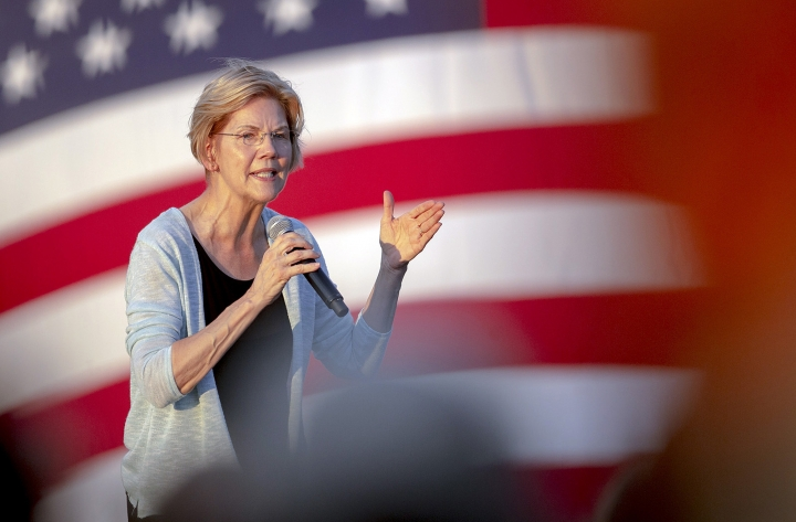 Democratic presidential candidate Elizabeth Warren, D-Mass., speaks during a rally on Tuesday, Sept. 10, 2019, in Austin, Texas. (Nick Wagner/Austin American-Statesman via AP)
