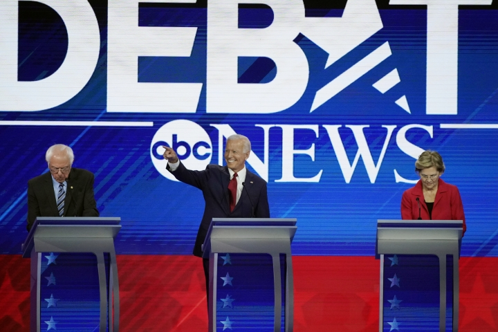 From left, presidential candidates Sen. Bernie Sanders, I-Vt, former Vice President Joe Biden and Sen. Elizabeth Warren, D-Mass. take their places Thursday, Sept. 12, 2019, before a Democratic presidential primary debate hosted by ABC at Texas Southern University in Houston. (AP Photo/David J. Phillip)
