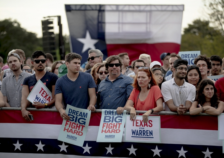 Supporters of Democratic presidential candidate Elizabeth Warren, D-Mass., wait for the candidate to appear during a town hall on Tuesday, Sept. 10, 2019, in Austin, Texas. (Nick Wagner/Austin American-Statesman via AP)