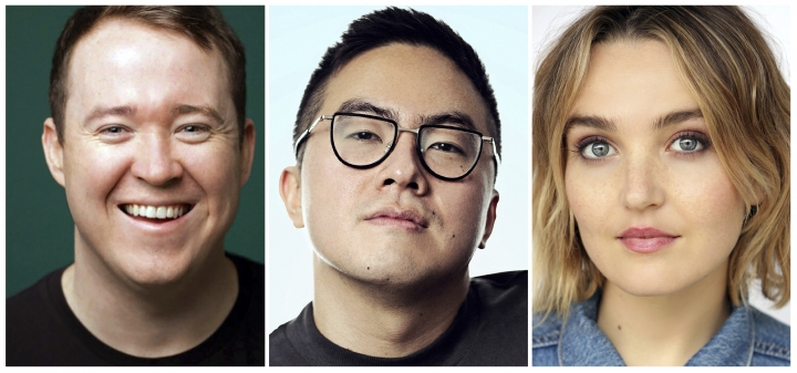"This combination of photos released by NBC shows, from left, Shane Gillis, Bowen Yang and Chloe Fineman who will join the cast of ""Saturday Night Live,"" premiering its 45th season on Sept. 28. (Photos by Phil Provencio, from left, Alex Schaefer and Stevie Nelson/NBC via AP)"