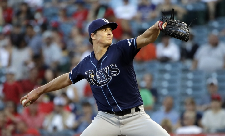Tampa Bay Rays starting pitcher Tyler Glasnow throws to the Los Angeles Angels during the first inning of a baseball game, Saturday, Sept. 14, 2019, in Anaheim, Calif. (AP Photo/Marcio Jose Sanchez)