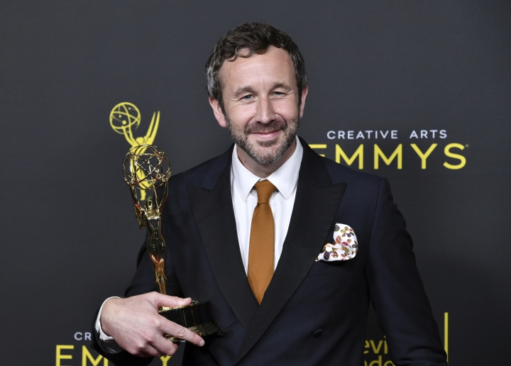 """CORRECTS THE DATE TO SUNDAY, SEPT. 15 - Chris O'Dowd poses in the press room with the award for outstanding actor in a short form comedy or drama series for """"State Of The Union"""" on night two of the Creative Arts Emmy Awards on Sunday, Sept. 15, 2019, at the Microsoft Theater in Los Angeles. (Photo by Richard Shotwell/Invision/AP)"""