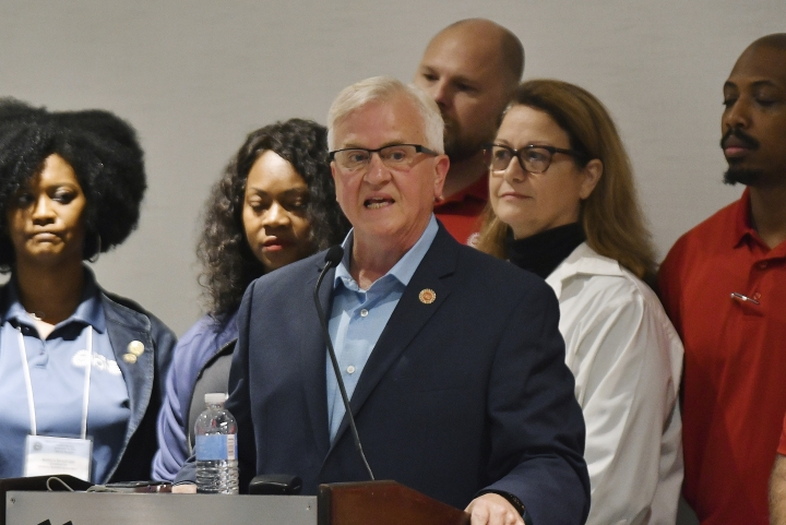 Terry Dittes, director of the UAW General Motors department, announces on Sunday Sept. 15, 2019, that GM workers will go on a national strike at midnight in the Marriott Renaissance Hotel, in Detroit. (Clarence Tabb Jr./Detroit News via AP)