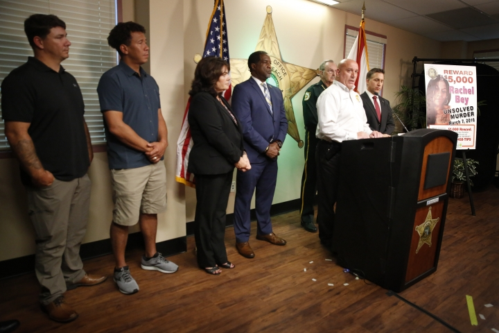 REMOVES AGE REFERENCE - Captain Michael Wallace, of Palm Beach County Sheriff's office speaks during a news conference on Monday, Sept. 16, 2019, in West Palm Beach, Fla. Palm Beach County Sheriff's officials said they arrested Robert Hayes for first degree murder in Rachel Bey's death. (AP Photo/Brynn Anderson)