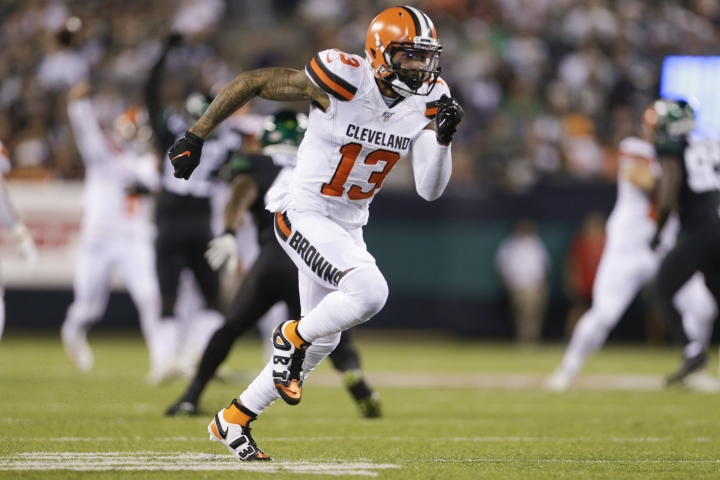 Cleveland Browns wide receiver Odell Beckham (13) runs a pass route during the first half of an NFL football game against the New York Jets, Monday, Sept. 16, 2019, in East Rutherford, N.J. (AP Photo/Adam Hunger)