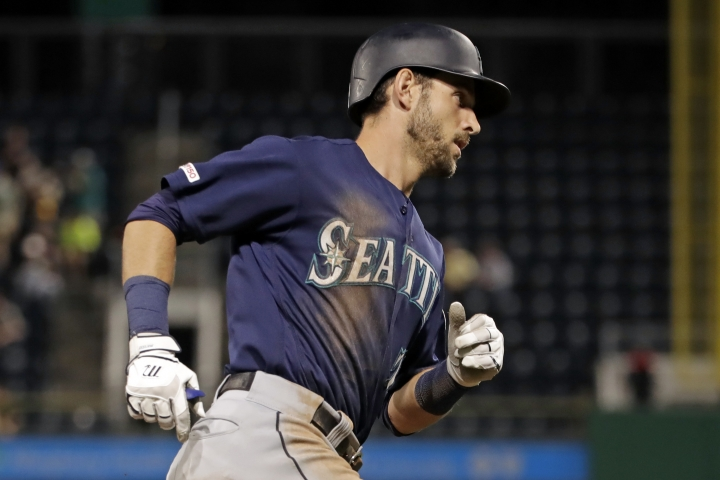 Seattle Mariners' Austin Nola rounds third base after hitting a solo home run off Pittsburgh Pirates relief pitcher Michael Feliz during the sixth inning of a baseball game in Pittsburgh, Tuesday, Sept. 17, 2019. (AP Photo/Gene J. Puskar)