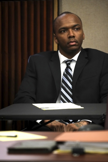 Dwright Doty appears during opening statements in his trial for the murder of 9-year-old Tyshawn Lee at the Leighton Criminal Court building in Chicago on Tuesday, Sept. 17, 2019. Doty and Corey Morgan are on trial after being with first-degree murder in connection to the 2015 slaying. (E. Jason Wambsgans/Chicago Tribune via AP, Pool)