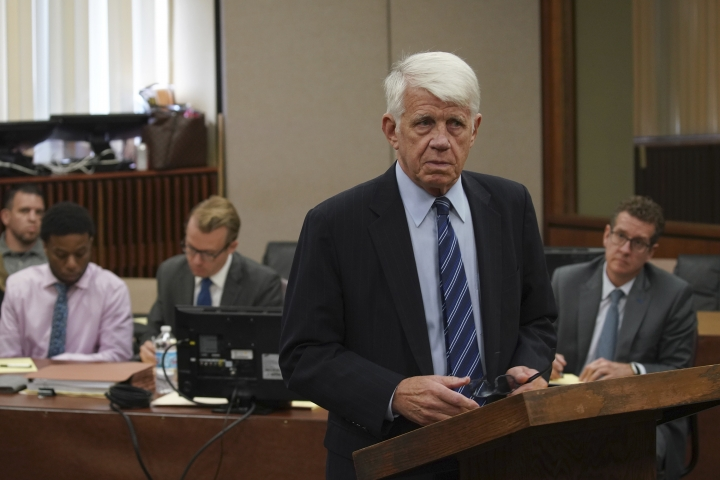Defense attorney Thomas Breen makes opening statements in the trial for Corey Morgan in the murder of 9-year-old Tyshawn Lee at the Leighton Criminal Court building in Chicago on Tuesday, Sept. 17, 2019. Dwright Doty and Corey Morgan are on trial after being with first-degree murder in connection to the 2015 slaying. (E. Jason Wambsgans/Chicago Tribune via AP, Pool)