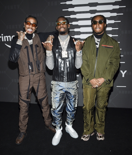 Quavo, Offset, and Takeoff of Migos attend the Spring/Summer 2020 Savage X Fenty show, presented by Amazon Prime, at the Barclays Center on Tuesday, Sept, 10, 2019, in New York. (Photo by Evan Agostini/Invision/AP)