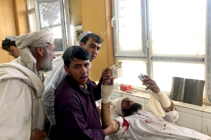 An injured man receives treatment at a hospital after a suicide attack in Zabul, Afghanistan, Thursday, Sept. 19, 2019. A powerful early morning suicide truck bomb devastated a hospital in southern Afghanistan on Thursday. (AP Photo/Ahmad Wali Sarhadi)