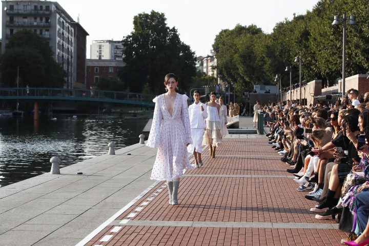 Models wear creations as part of the Marco De Vincenzo Spring-Summer 2020 collection, unveiled during the fashion week, in Milan, Italy, Friday, Sept. 20, 2019. (AP Photo/Antonio Calanni)