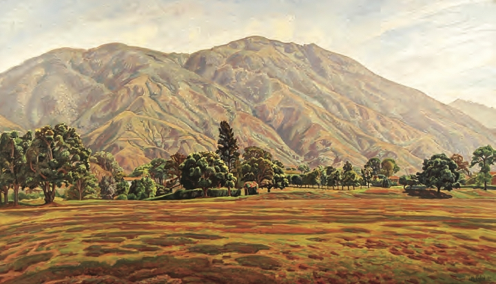 This image released by the Inter-American Development Bank shows a landscape of Caracas' imposing Avila mountain by Manuel Cabre, taken from an advertisement for an exhibit on Latin American art. U.S. officials are investigating the possible looting from Venezuela of valuable European and Latin American artwork, including this one, they believe is being quietly plundered by government insiders as Nicolas Maduro struggles to keep his grip on power. Among the objects being traced: three Venezuelan masterpieces that hung for decades on the walls of the ambassador's stately residence in Washington but which were nowhere to be found when opposition leader Juan Guaido's envoy took over the diplomatic mission in May. (Inter-American Development Bank via AP)