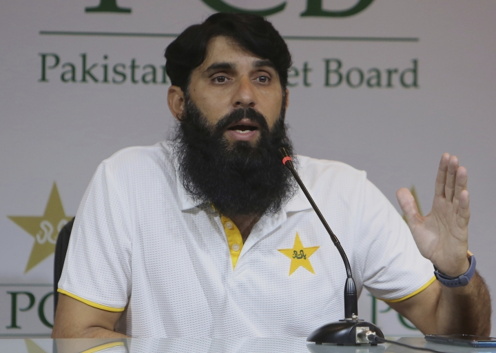 Misbah-ul-Haq, head coach and chief selector of Pakistan Cricket, gestures during a press conference regarding the team's announcement for an upcoming cricket series against Sri Lanka, in Lahore, Pakistan, Saturday, Sept. 21, 2019. Pakistan recalled all-rounders Iftikhar Ahmed and Mohammad Nawaz for three-match one-day international series against Sri Lanka, starting at Karachi from next week. (AP Photo/K.M. Chaudary)