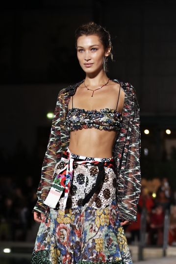 Model Bella Hadid wears a creation as part of the Missoni Spring-Summer 2020 collection, unveiled during the fashion week, in Milan, Italy, Saturday, Sept. 21, 2019. (AP Photo/Antonio Calanni)